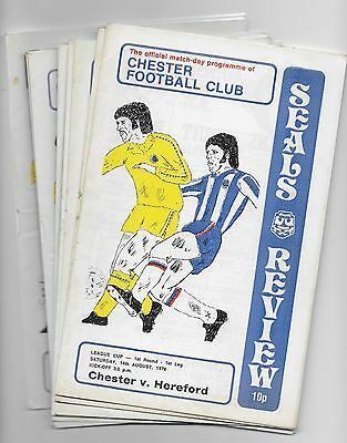Collection Of Chester Home Football Programmes 1976/77 Inc Fa & Lg Cup England