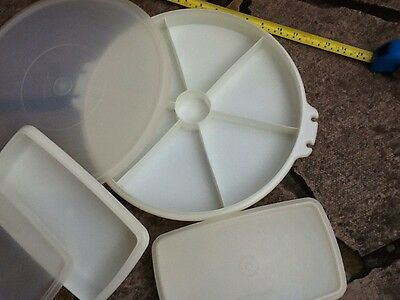 3 Airtight Catering Tupperware Containers - Vintage Ideal Xmas