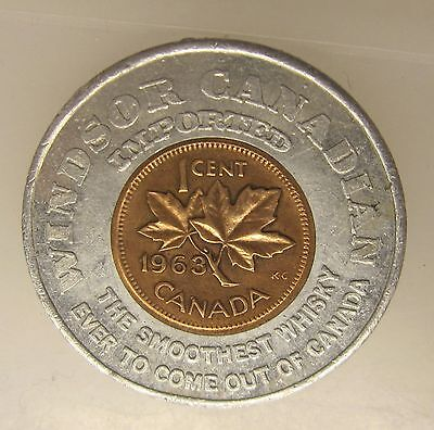 1963 Windsor Canada Encased Canada Penny - Canadian Whisky Imported