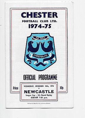 Chester V Newcastle United 1974  Football League Cup Replay Fa England