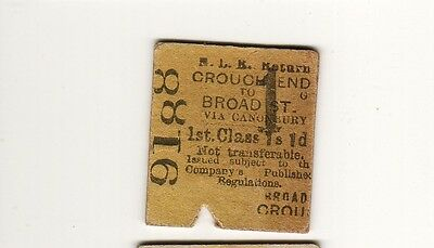 Railway ticket NLR 1st class Broad St - Crouch End 1892
