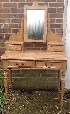 Vintage Victorian Style stripped pine dressing table With Mirror Lovely Table