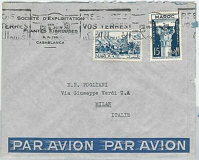 59251  -    MOROCCO - POSTAL HISTORY: COVER to ITALY - 1956 Palm Trees