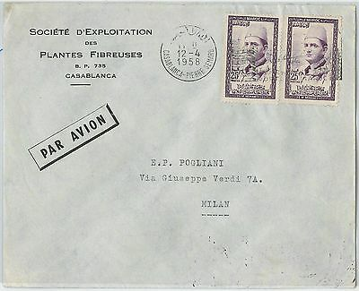 59253 -    MOROCCO - POSTAL HISTORY: COVER to ITALY - 1958