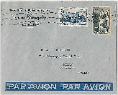 59255 -    MOROCCO - POSTAL HISTORY: COVER to ITALY - 1954   PALM TREES