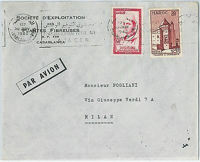 59258 -    MOROCCO - POSTAL HISTORY: COVER to ITALY - 1960
