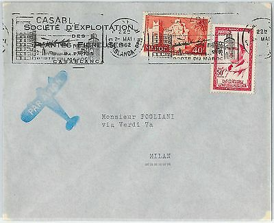 59259 -    MOROCCO - POSTAL HISTORY: COVER to ITALY - 1962   PALM TREES