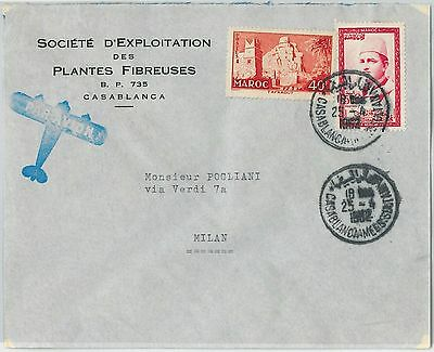 59261 -    MOROCCO - POSTAL HISTORY: COVER to ITALY - 1962   PALM TREES