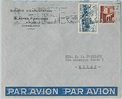 59263 -    MOROCCO - POSTAL HISTORY: COVER to ITALY - 1952   PALM TREES