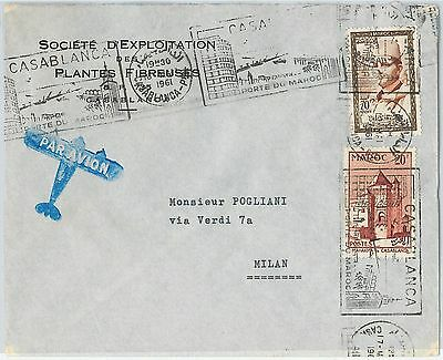 59266 -    MOROCCO - POSTAL HISTORY: COVER to ITALY - 1961