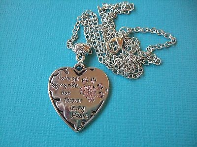 Dog Memorial Necklace Pendant Metal Paw Engraved Forever Heart Rhinestone Pink