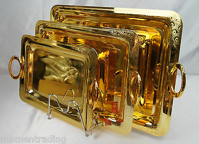 Serving Tray Stainless Steel Gold Plated  Set of 3 Trays platters