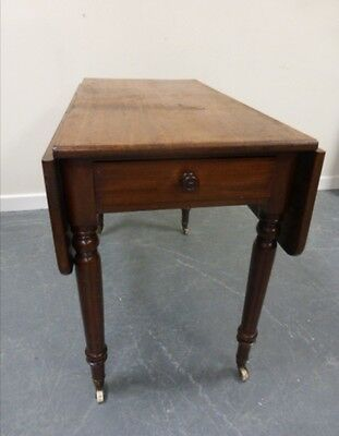 Antique 19thC mahogany Pembroke table with single end drawer On Turned Supports