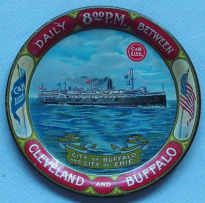 Round C & B Oceanliner Tin Advertising Tip Tray Near Mint Great Graphic Liner