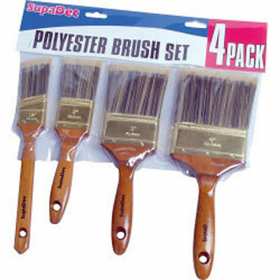 """SupaDec Polyester Brush Set 4 Piece With 1.5"""" Angled, 2"""", 3"""" & 4"""" Paint Brushes"""