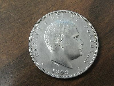 1899 Portugal 1000 Reis Silver Coin Looks XF Km #540