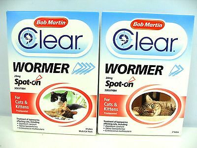 Bob Martin Clear Wormer Spot On for Cats & Kittens - Worming Spot On + Tapeworm