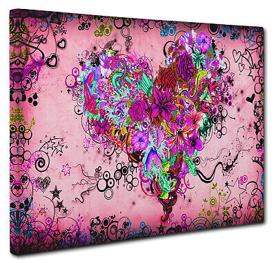 Colorful Pink Love Heart Wall Art X LARGE 20x30 inches Box Canvas Print Picture