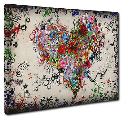 Colorful Love Heart Wall Art X LARGE 20x30 inches Box Canvas Print Picture