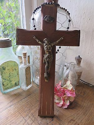 BEAUTIFUL VINTAGE FRENCH WOODEN CRUCIFIX / CROSS 1930's ~ WITH BRASS INLAY