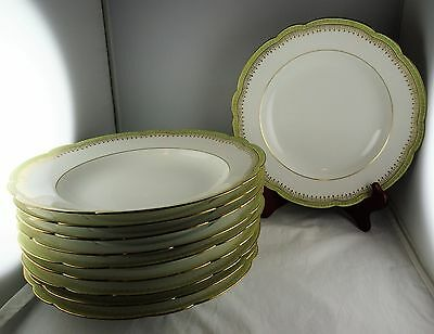 10 W. Guerin Limoges GUE56 Rim Soup Bowls - Green Band With Gold Greek Key