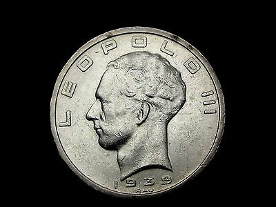 1939 Belgium 50 Francs Silver Coin Looks XF Km #121