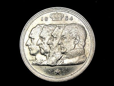 1954 Belgium 100 Francs Silver Coin Looks XF Km #138.1