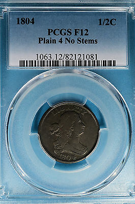 1804 Draped Bust Half Cent PCGS F12- Plain 4, No Stems, Nice Early Copper