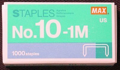 1 X Flat Staples Clinch Staples Mini Box of 1000 by MAX No.10