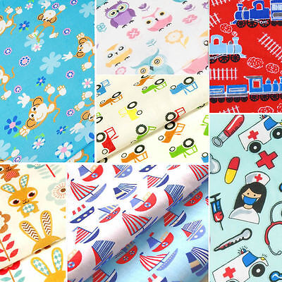 Childrens Fabric FAT QUARTERS Kids Baby POLYCOTTON Material Boy Girl Dress