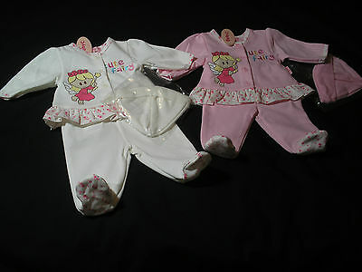 premature Baby Preemie Girl Clothes 3 piece set Top Trouser Hat Pink/Cream 5-8lb