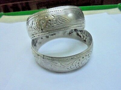 Moroccan Jewelry, Pr Antique Berber Sterling Sunburst Bangles, Nicely Worn