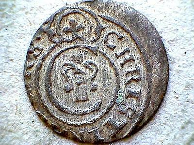 Livonia Riga Swedish Occupation Christina 1649 Solidus, Silver Small Coin