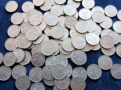 LOT 100pcs SWEDEN GUSTAF IV 1962-1973 10 ORE COINS, OUT OF CIRCULATION
