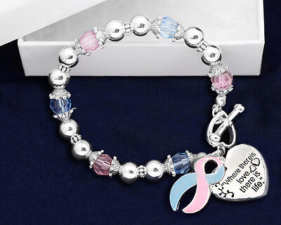 Lot of 12 Where There is Love Pink & Blue Ribbon Bracelets