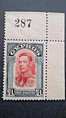 Cyprus 1938 SG #163 XF 1 Pound Mint Never Hinged Corner PN single! Scarce..