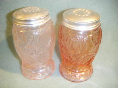 Pink Strawberry Glass Salt & Pepper Shakers Tin Lids