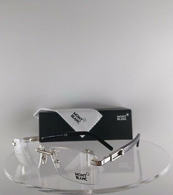 New Authentic MONT Blanc MB 398 016 Eyeglasses Black/Silver MB398 56mm Frame