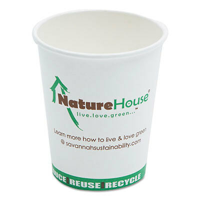 Compostable Live-Green Art Hot Cups, 8oz, White, 50/Pack C008
