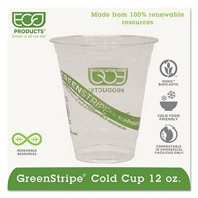 GreenStripe Renewable & Compostable Cold Cups - 12oz., 50/PK, 20 PK/CT EP-CC12GS