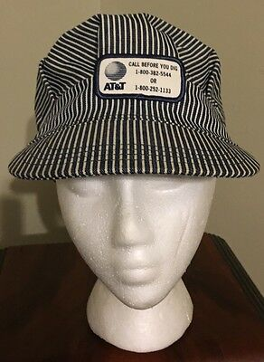 Vtg AT&T Engineers Workers Train Conductors Cap Hat Railroad Hickory Striped