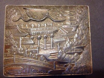 Vintage Japanese Silver Brass Trinket Jewellery Box Temple Tin Silver Brass