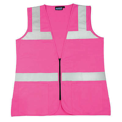 Erb Safety High Visibility Vest, Unrated, Pink, XL S721  61912