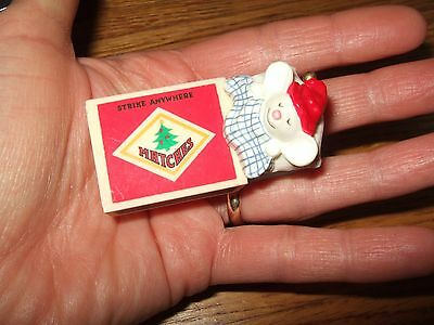 Hallmark 1979 Matches Strike Anywhere Mouse In Pj's Christmas Ornament Clip On