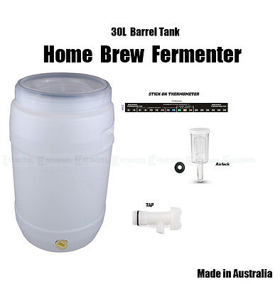 30L Fermenter with Window lid kit Home Brew Beer Wine Spirits TAP AIRLOCK 55691