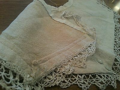 Antique Nubby Fabric Lace Buttons Fragment Primitive Dolls Crafters Projects