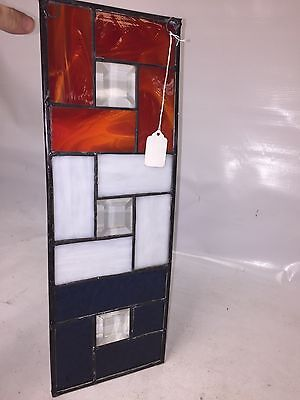 Clear Bevelled Glass w Red White & Blue STAINED GLASS Hanging Panel - SUNCATCHER