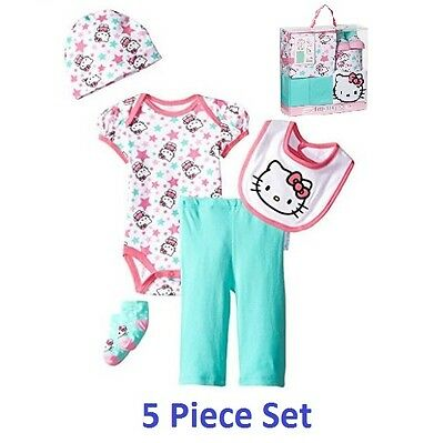 NWT Hello Kitty Girls' Turquoise Baby Gift Set 5 Piece for 0-6 Months Newborn