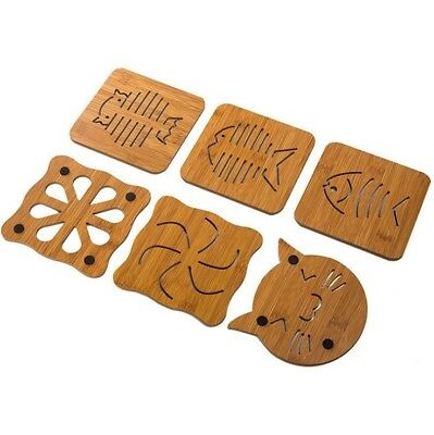 Wooden Placemats Coasters Trivets Hot Pans Plates Animals Cat Fish Floral Rustic