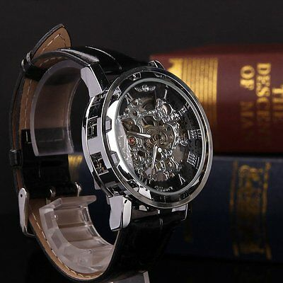 Classic Men's Black Leather Dial Skeleton Mechanical Sport Army Wrist Watch New